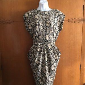 Vintage 80's Dress Tiered Floral Black Tan Sz 7
